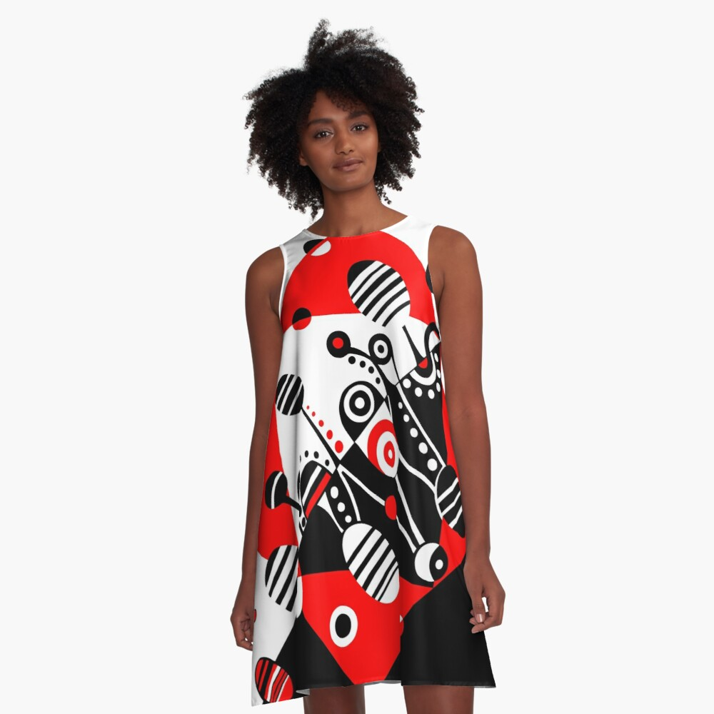 MICROGRAVITY - RED & BLACK A-Line Dress Front