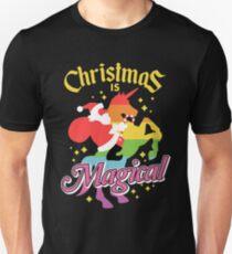 Christmas Is Magical Santa Claus Riding Unicorn Design T-Shirt