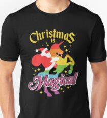 Christmas Is Magical Santa Claus Riding Unicorn Design Unisex T-Shirt