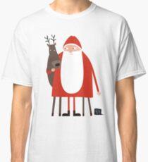 Santa and his reindeer / Weihnachtsmann mit Rentier Classic T-Shirt