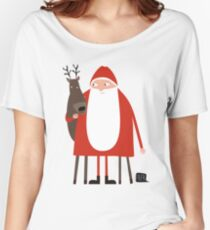 Santa and his reindeer / Weihnachtsmann mit Rentier Women's Relaxed Fit T-Shirt