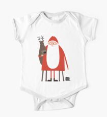 Santa and his reindeer / Weihnachtsmann mit Rentier One Piece - Short Sleeve