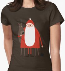 Weihnachtsmann mit Rentier Womens Fitted T-Shirt