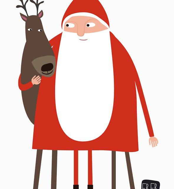 Santa and his reindeer / Weihnachtsmann mit Rentier by Ulrike Früchtnicht
