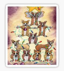 Corgi dogs make up a fur tree for Christmas Sticker