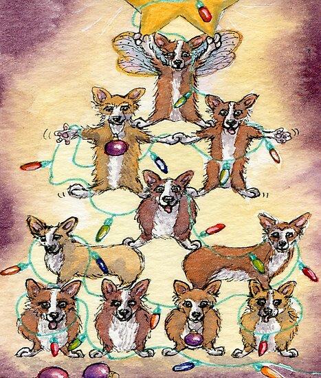 Corgi dogs make up a fur tree for Christmas by SusanAlisonArt