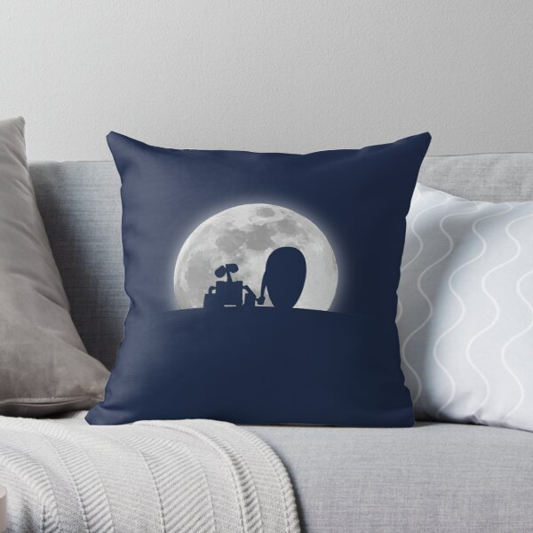 Wall•E and EVE in the Moonlight, Awwwww. Throw Pillow