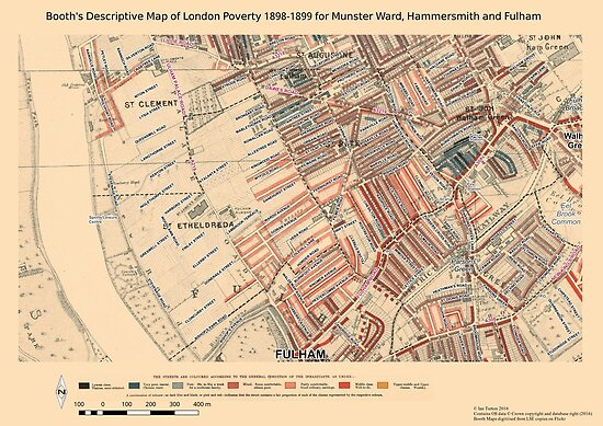 Booth S Map Of London Poverty For Munster Ward Hammersmith Fulham