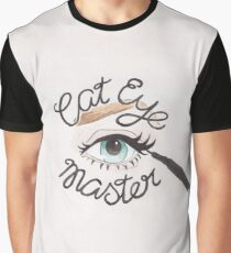 Cat Eye Master // Watercolor Illustration of a Blue Eye with Cat Eye Liner and Calligraphy Lettering Graphic T-Shirt