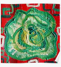 Red and Green - Contemporary Oil Painting - Decorative Kale Poster
