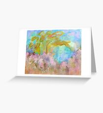 Abstract Landscape Painting Tree Flowers Greeting Card