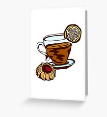 tea cup and cookies Greeting Card
