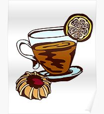 tea cup and cookies Poster