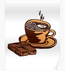 cup of coffee with chocolate Poster