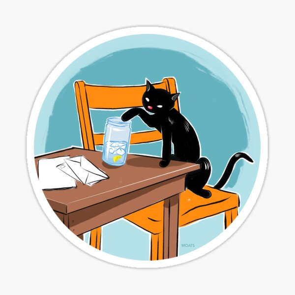 Chat and Water with Lemon on a Table Sticker