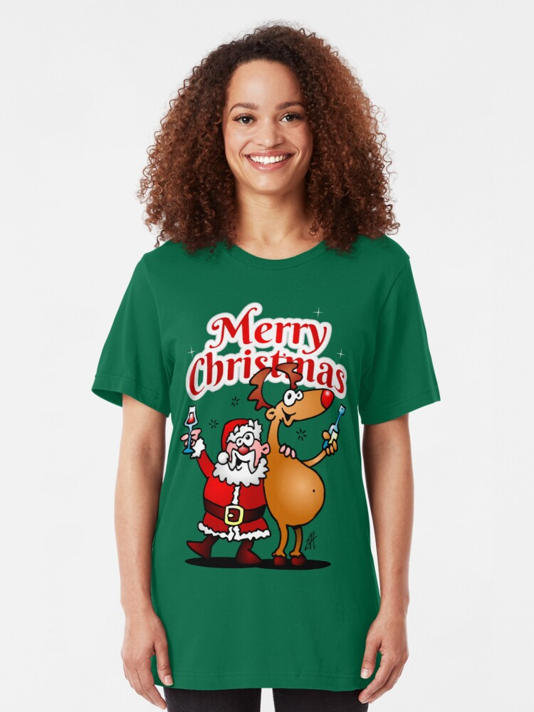 Alternate view of Merry Christmas - Santa Claus and his Reindeer Slim Fit T-Shirt