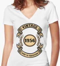 Vintage 1956 Aged To Perfection Women's Fitted V-Neck T-Shirt