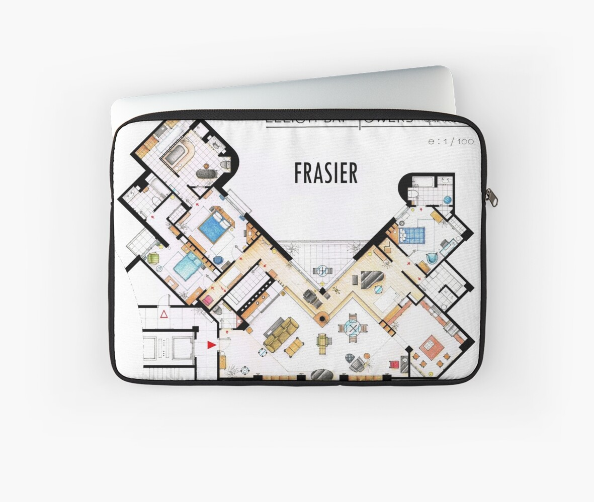 quot frasier apartment floorplan quot laptop sleeves by i 241 aki what would frasier do the house on penny lane