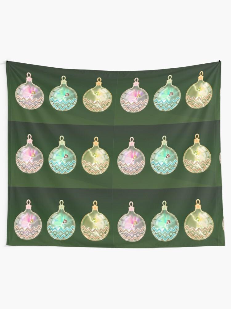 Alternate view of Christmas balls rainbow fairies Tapestry