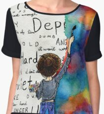 Always Keep Fighting Watercolor Painting (2015) REVAMP Chiffon Top