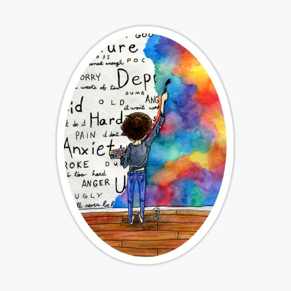 Always Keep Fighting Watercolor Painting (2015) REVAMP Sticker