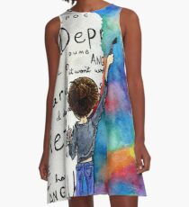 Always Keep Fighting Watercolor Painting (2015) REVAMP A-Line Dress