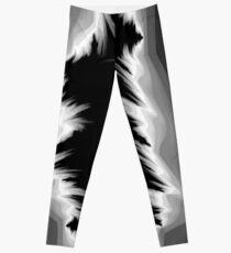 Gray and black fractals pattern, simple design Leggings