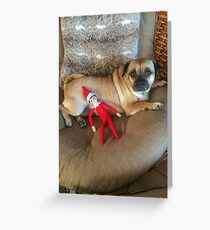 Puggy with the elf on the shelf Greeting Card