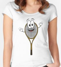 Happy cartoon tennis rack character Women's Fitted Scoop T-Shirt