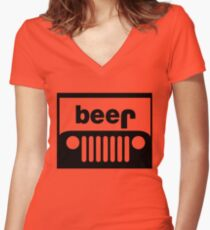 Jeep beer Women's Fitted V-Neck T-Shirt