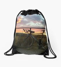 Sunset bike Drawstring Bag