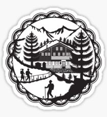 Swiss Chalet Alpine Hiker Decoupage Sticker