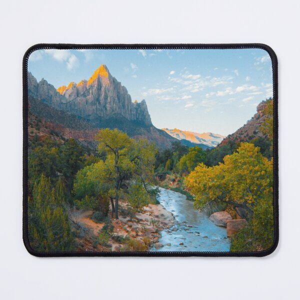 River, Trees And Canyon Mouse Pad