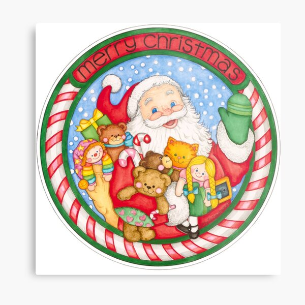 Merry Christmas Santa and Toys Metal Print