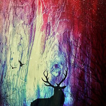 Mystical Space Forest: Majestic Stag by TheMindBlossom