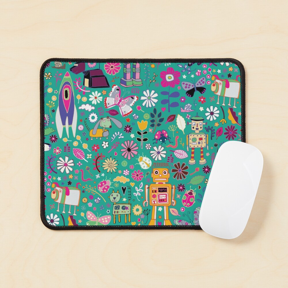 Electric Dreams - pink and turquoise - floral robot fun pattern by Cecca Designs Mouse Pad