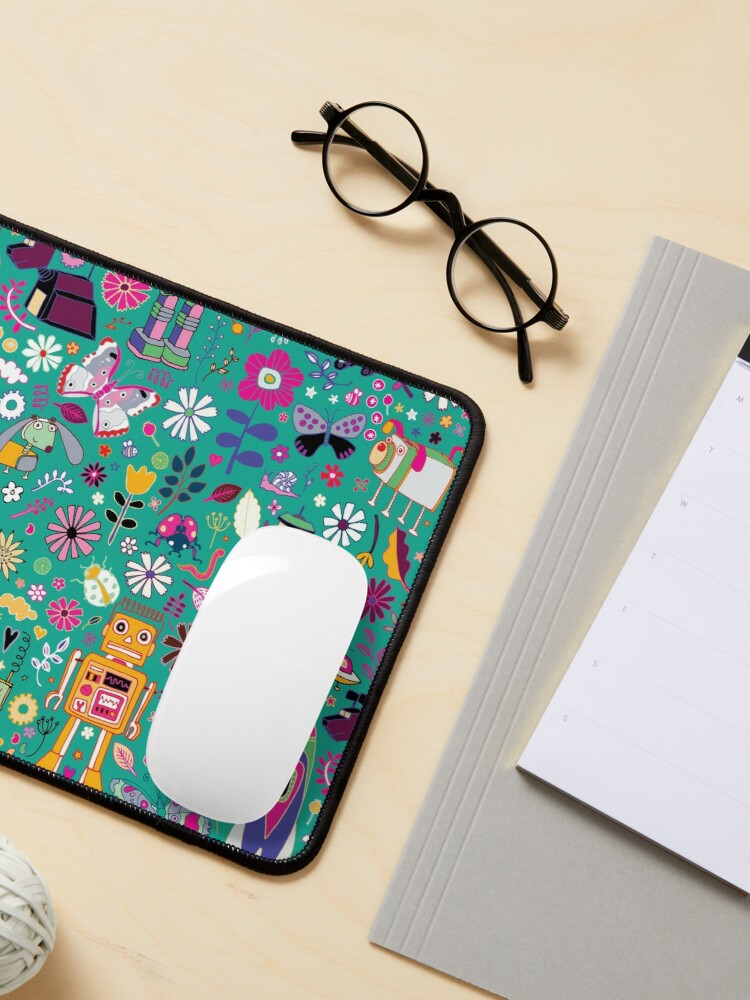 Alternate view of Electric Dreams - pink and turquoise - floral robot fun pattern by Cecca Designs Mouse Pad