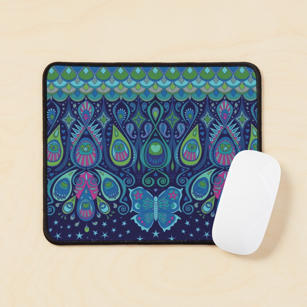 Midnight Butterflies - Peacock - Bohemian pattern by Cecca Designs Mouse Pad