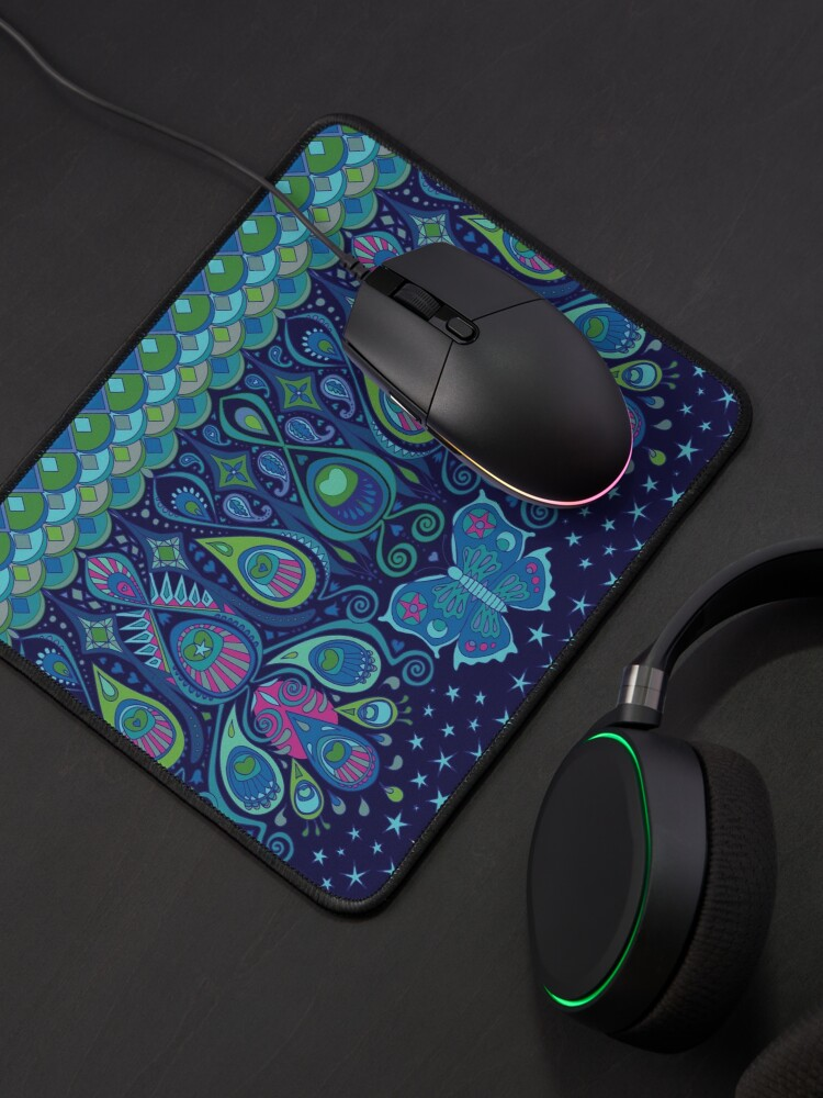 Alternate view of Midnight Butterflies - Peacock - Bohemian pattern by Cecca Designs Mouse Pad