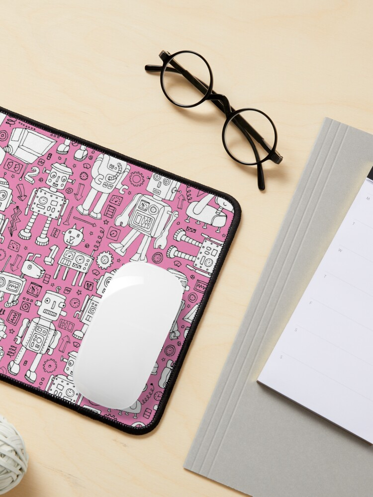 Alternate view of Robot Pattern - pink and white - fun pattern by Cecca designs Mouse Pad