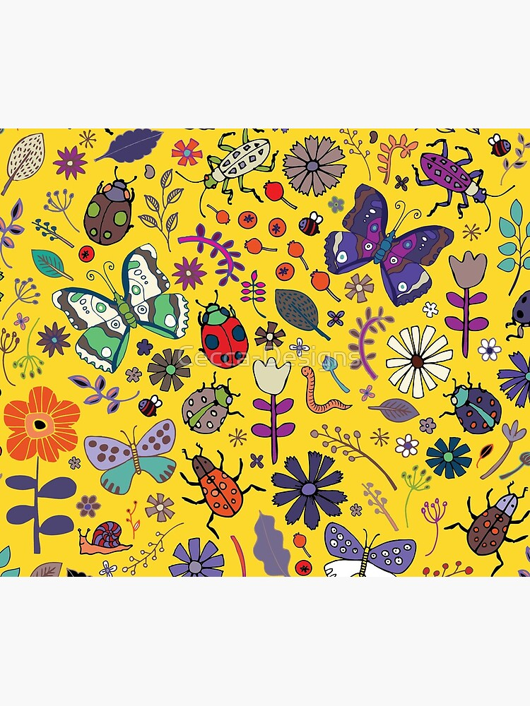 Butterflies, beetles and blooms - Yellow - pretty floral pattern by Cecca Designs  by Cecca-Designs