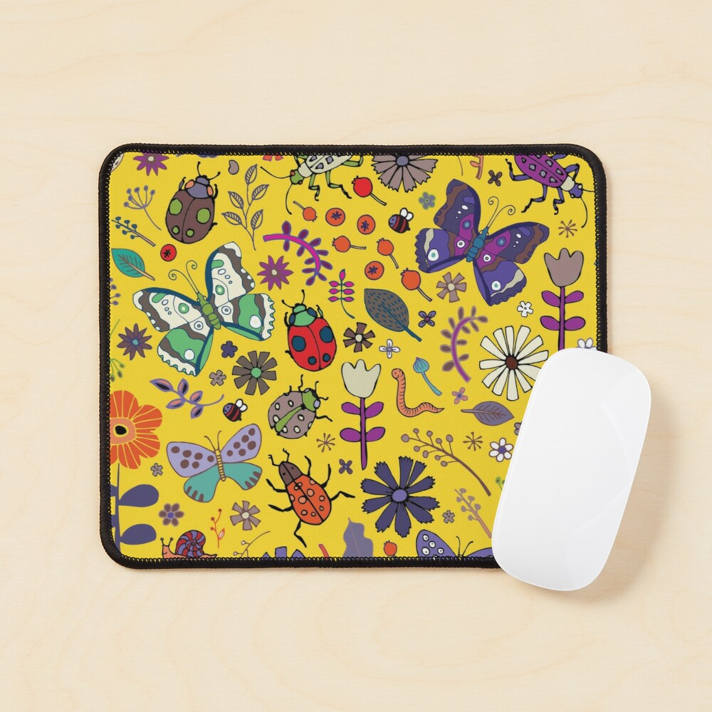 Butterflies, beetles and blooms - Yellow - pretty floral pattern by Cecca Designs  Mouse Pad