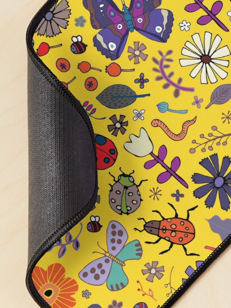 Alternate view of Butterflies, beetles and blooms - Yellow - pretty floral pattern by Cecca Designs  Mouse Pad