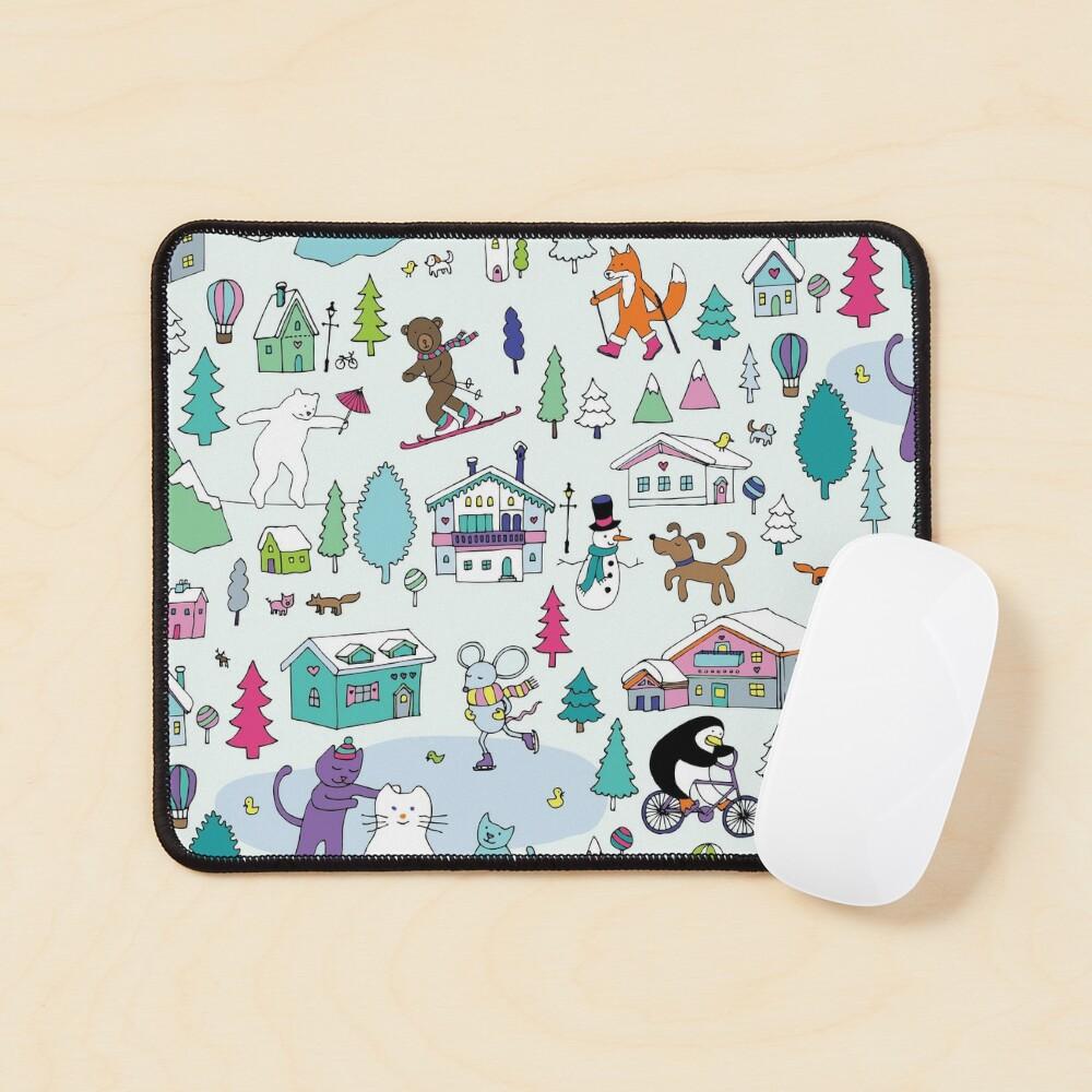 Alpine Animal Antics - original - Cute winter pattern by Cecca Designs Mouse Pad