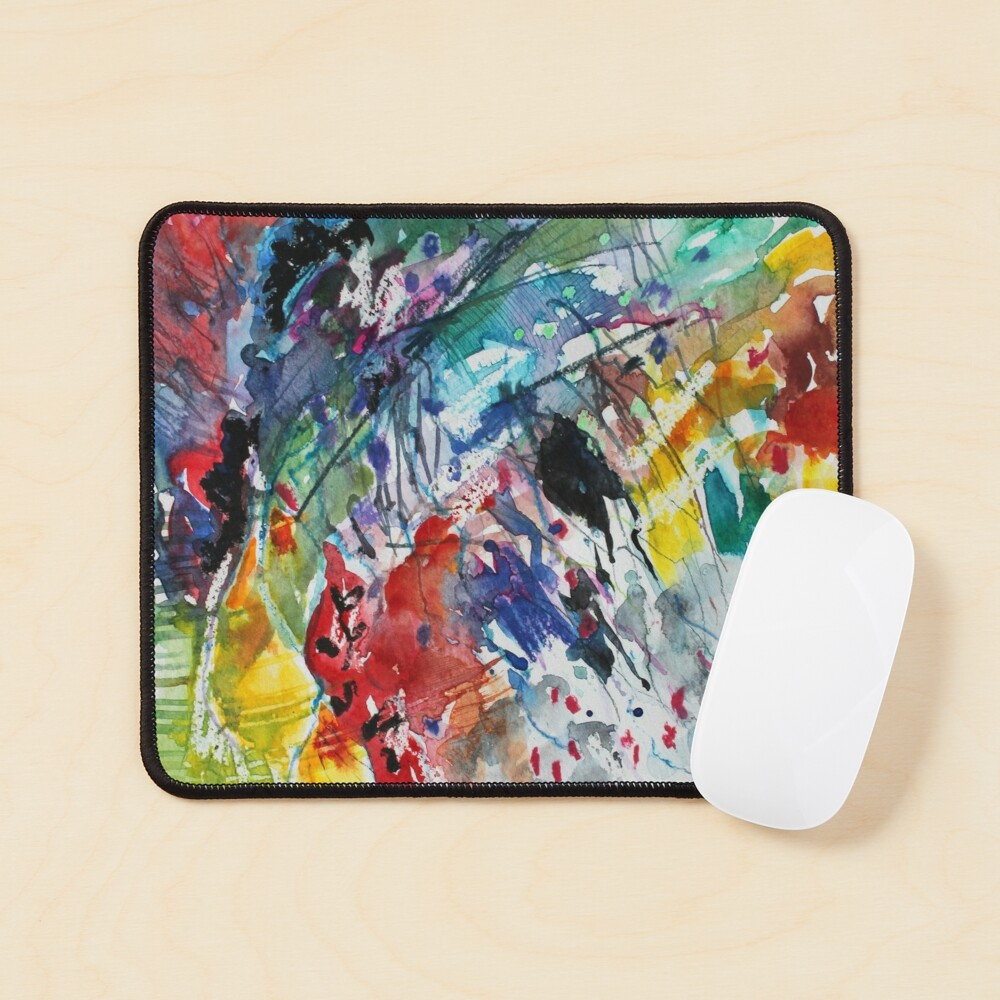 Rainbow landscape  - Original abstract watercolour by Francesca Whetnall Mouse Pad