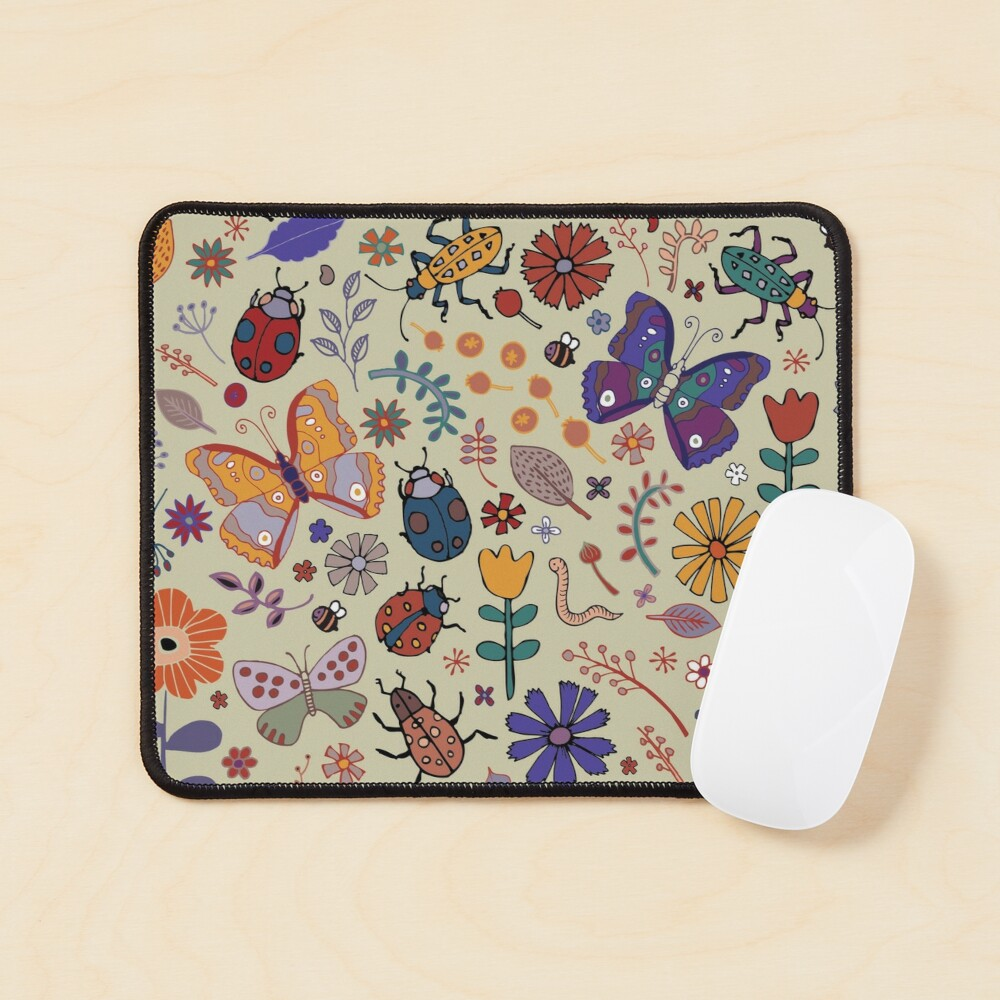 Butterflies, Beetles and blooms - taupe - pretty floral pattern by Cecca Designs Mouse Pad
