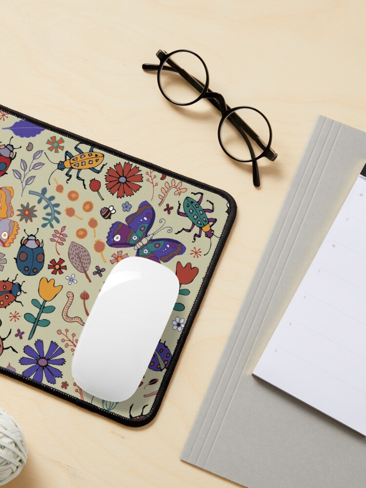 Alternate view of Butterflies, Beetles and blooms - taupe - pretty floral pattern by Cecca Designs Mouse Pad