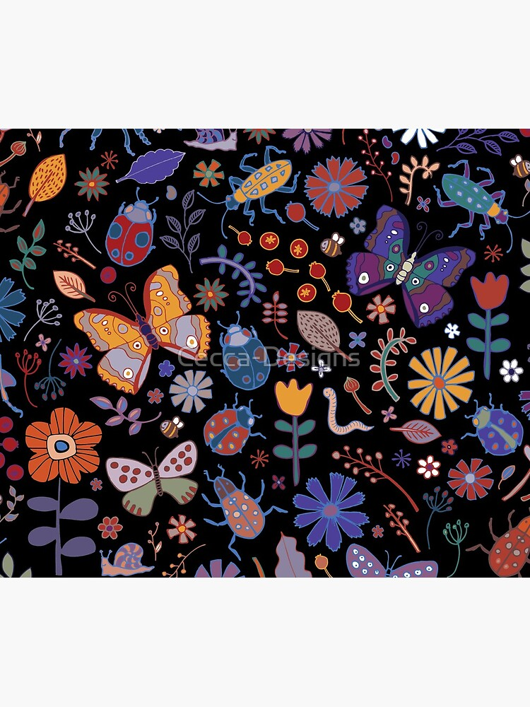 Butterflies, beetles and blooms - black - pretty floral pattern by Cecca Designs by Cecca-Designs