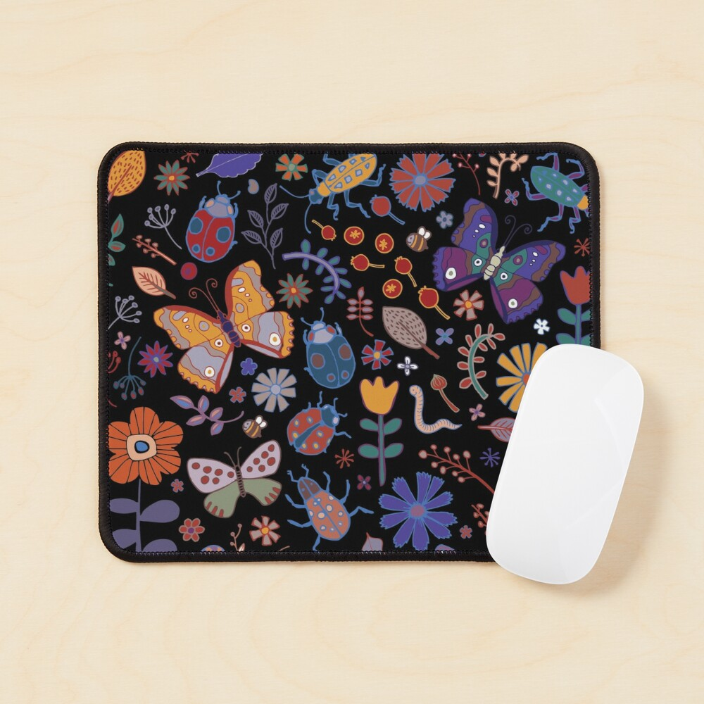 Butterflies, beetles and blooms - black - pretty floral pattern by Cecca Designs Mouse Pad