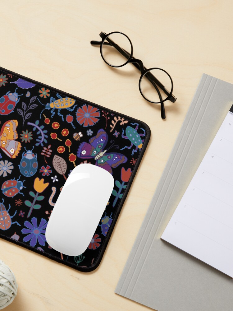 Alternate view of Butterflies, beetles and blooms - black - pretty floral pattern by Cecca Designs Mouse Pad